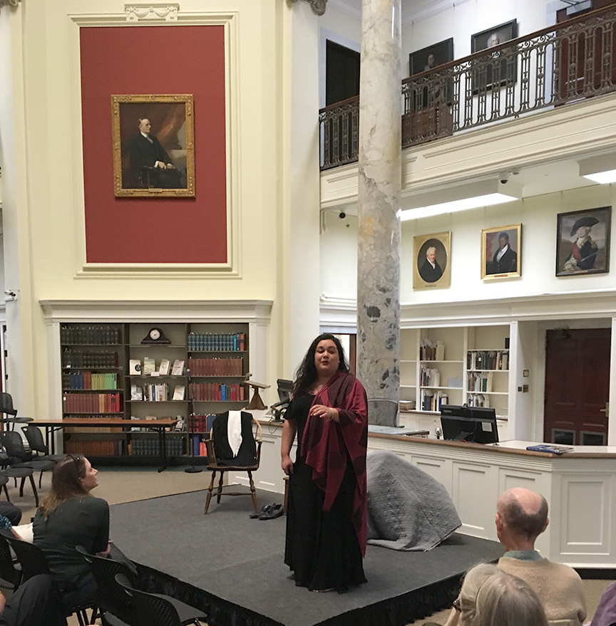 Poai Lincoln performs at the American Antiquarian Society in October 2019 during an event for the 2019 Hawai'i Mission Bicentennial in New England.